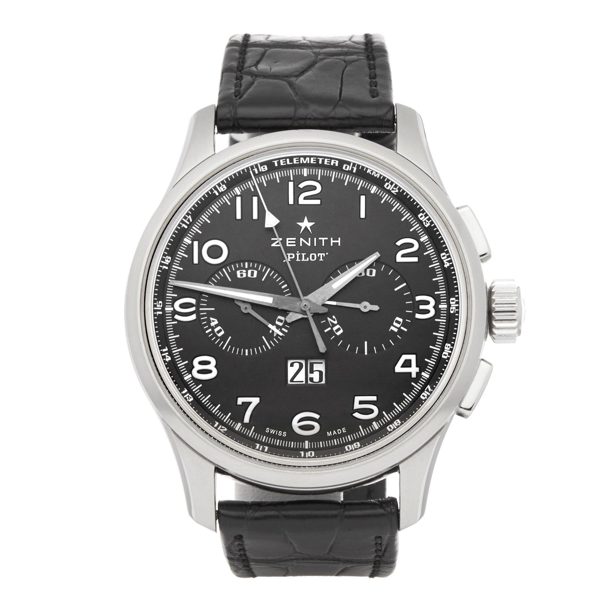 Zenith El Primero Pilot Chronograph Roestvrij Staal 03.2410.4010/21.0722