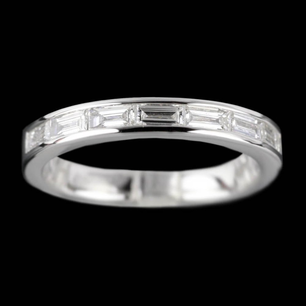Mappin & Webb 18K White Gold Baguette 0.48 cts Diamond G VS1 Half Eternity Ring Size L