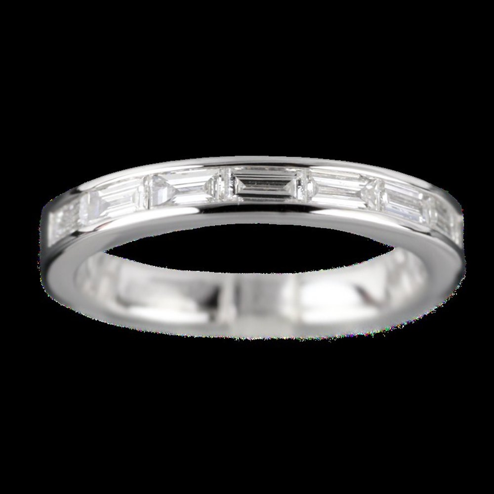 Mappin & Webb 18K White Gold Baguette 0.48 cts Diamond G VS1 Half Eternity Ring Size N