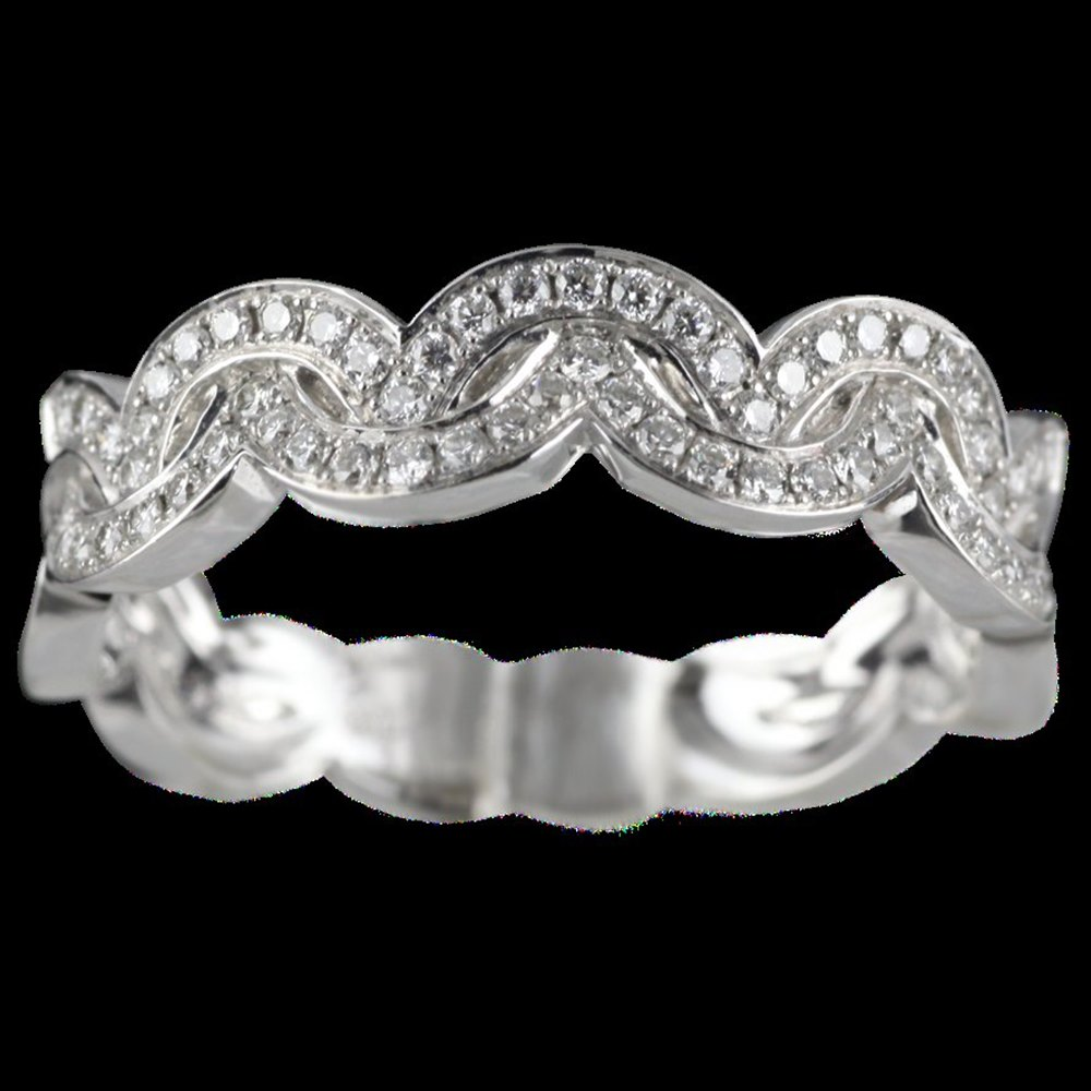 Mappin & Webb 18K White Gold 0.24 cts G VS1 Diamond Encapture Wave Half Eternity Ring Size M