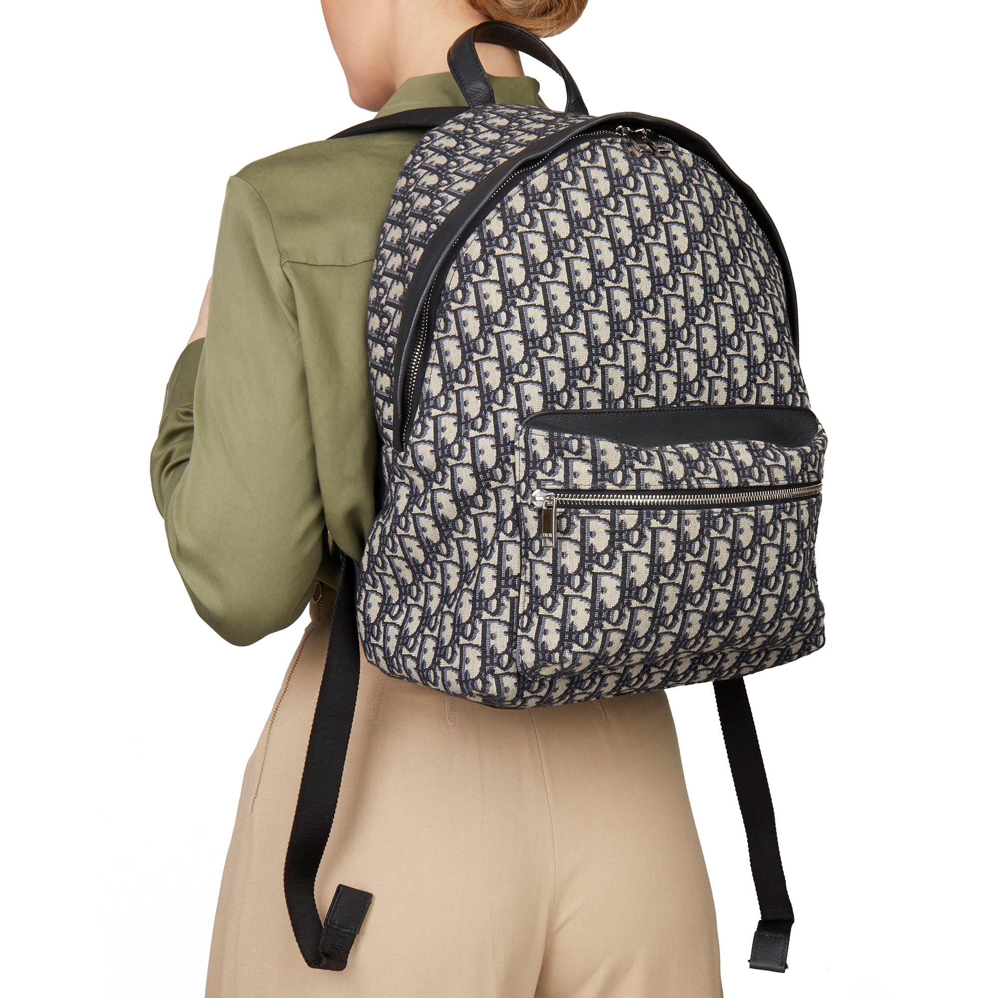 Christian Dior Black Monogram Canvas Oblique Backpack