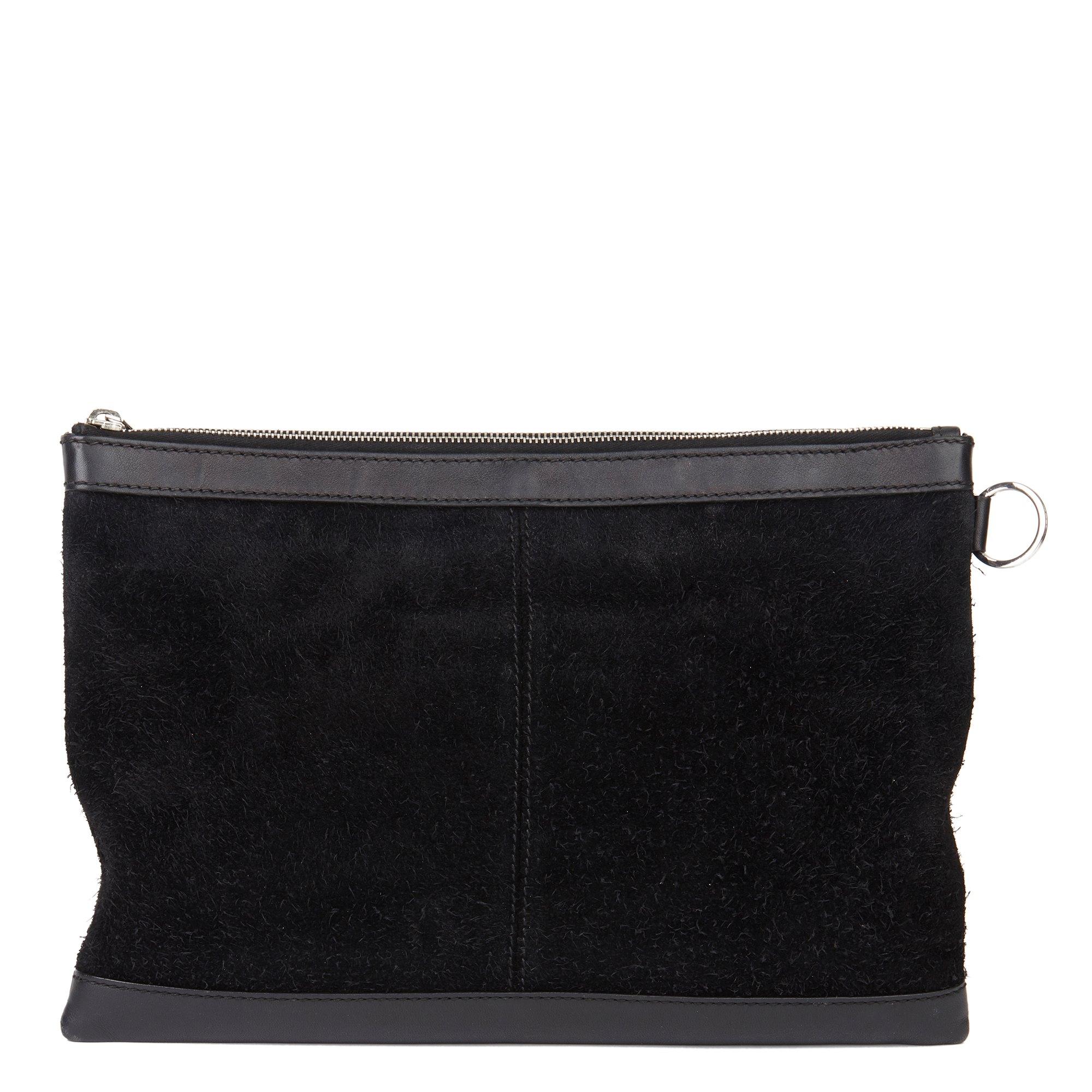 Balenciaga Black Calfskin Leather & Suede City Pouch