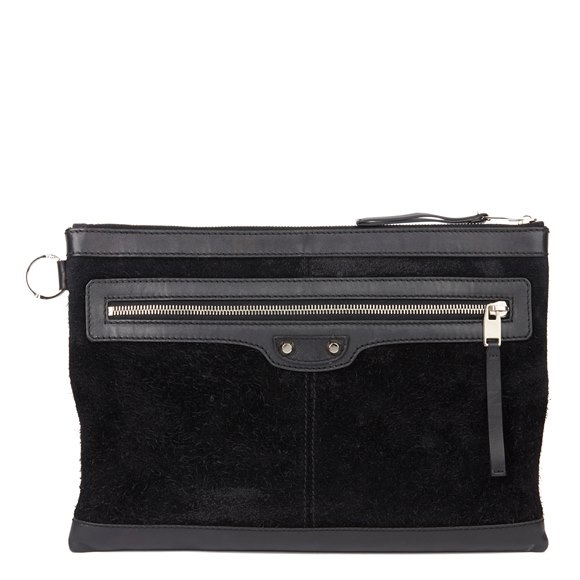 Balenciaga Black Calfskin Leather & Suede City Pouch