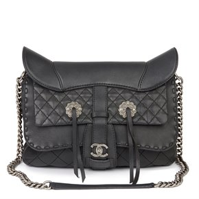 Chanel Black Quilted Calfskin Leather Paris-Dallas Ride My Western Saddle Bag