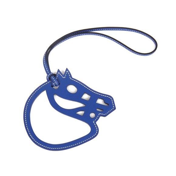 Hermès Bleu Electric Swift Leather Paddock Cheval Charm