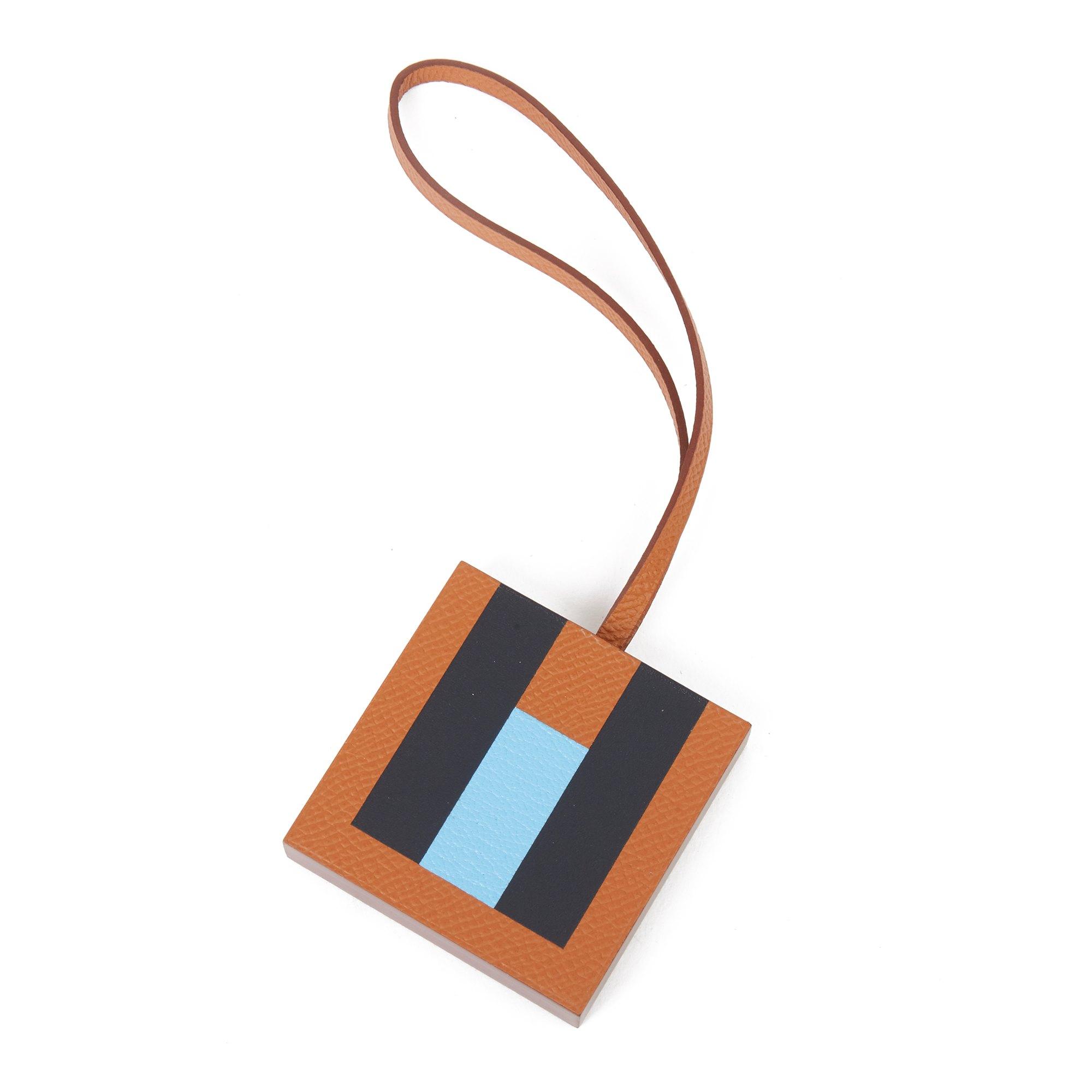 Hermès Gold Epsom Leather, Celeste Chevre Mysore Leather & Bleu Obscur Sombrero Leather 'H' Lettre Charm