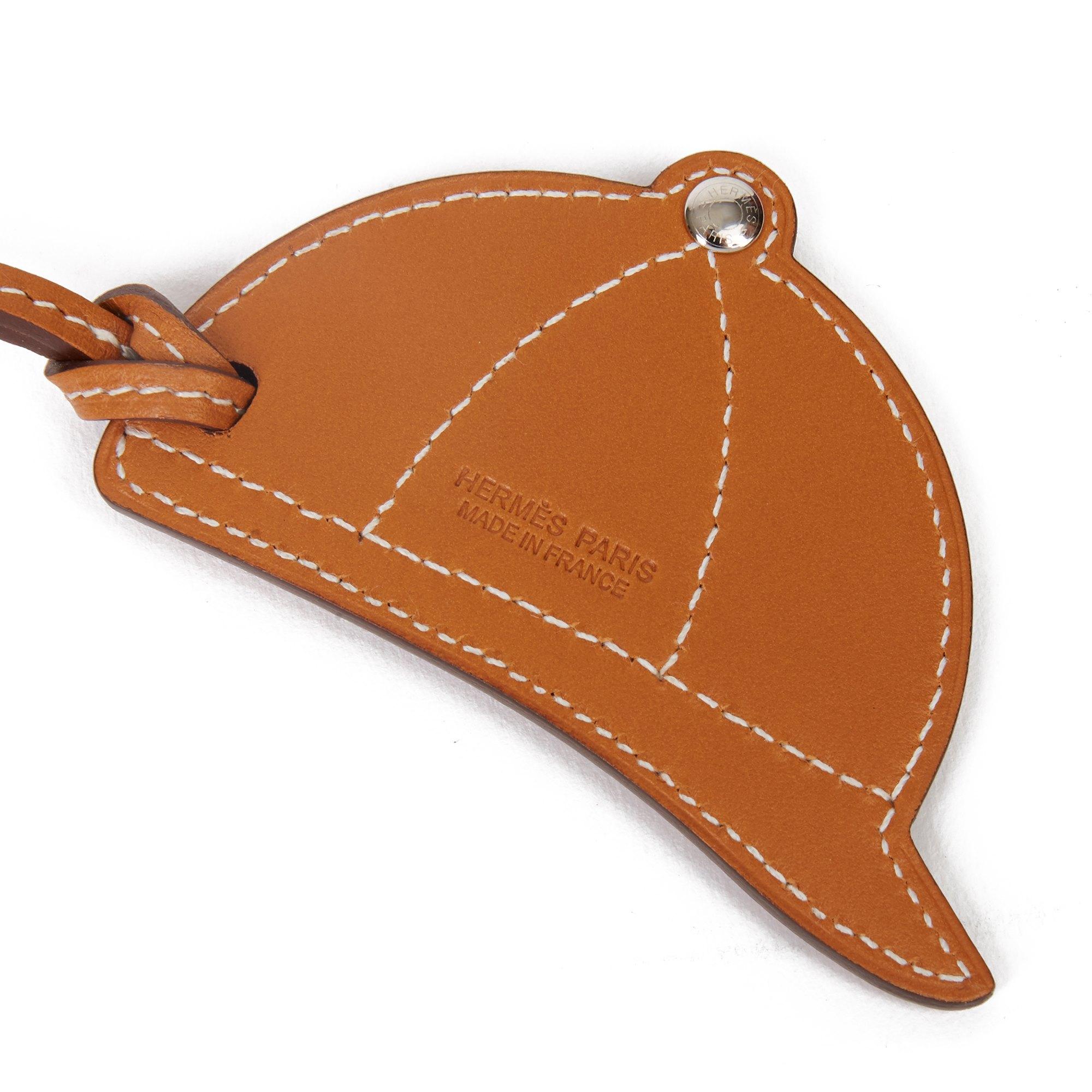 Hermès Natural Butler Leather & Capucine, Bleu du Nord Swift Leather Paddock Bombe Charm
