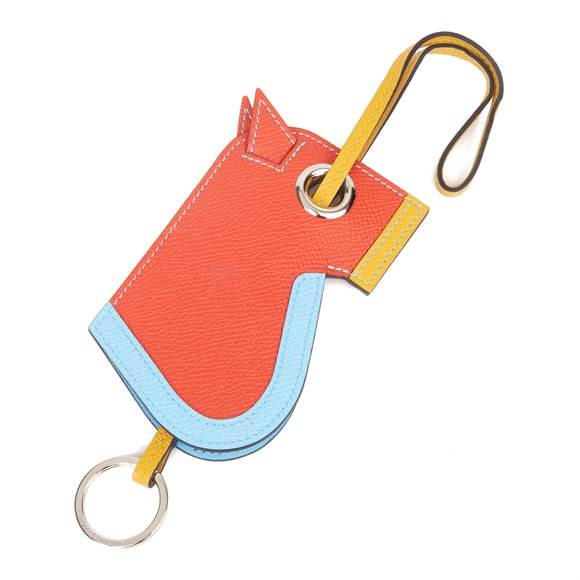 Hermès Celeste, Capucine & Ambre Epsom Leather Camail Key Holder Charm