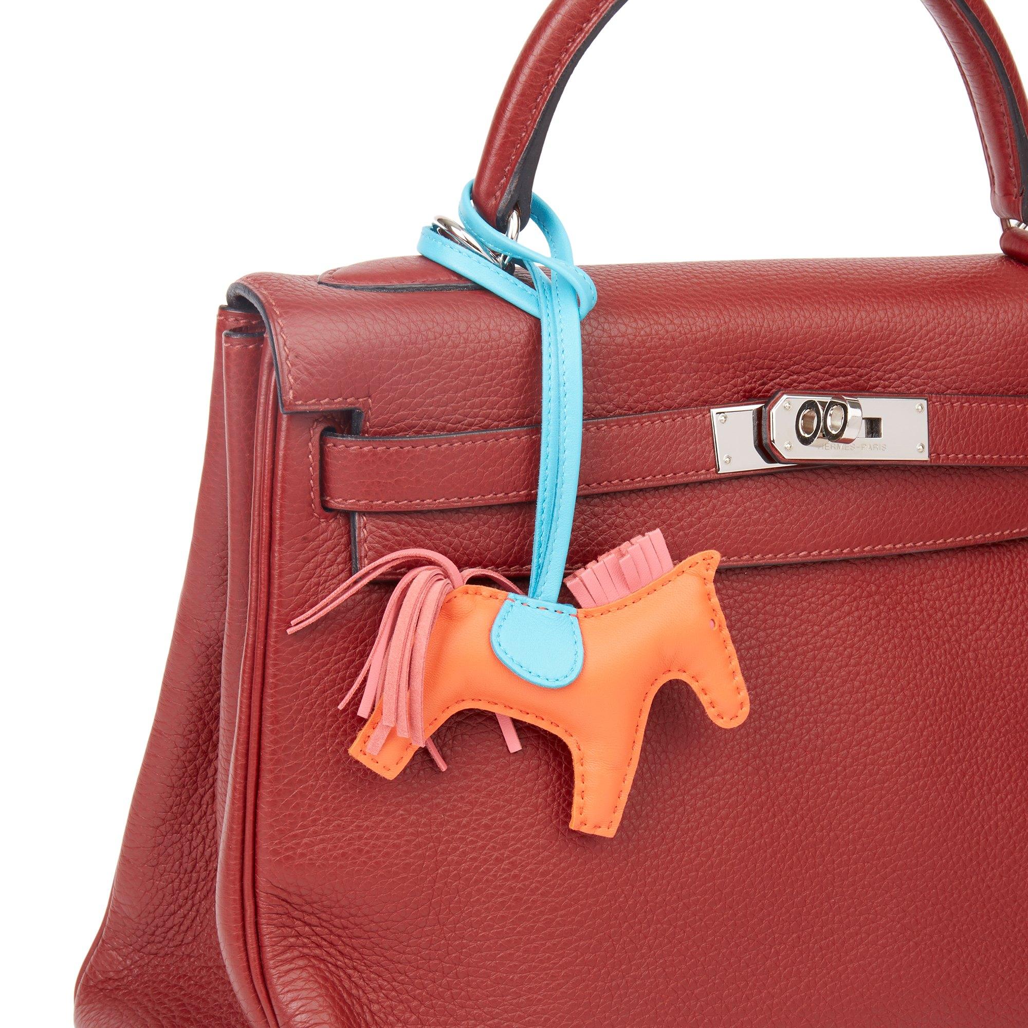 Hermès Rose Azalee, Orange Poppy & Bleu Aztec Swift Leather Rodeo PM
