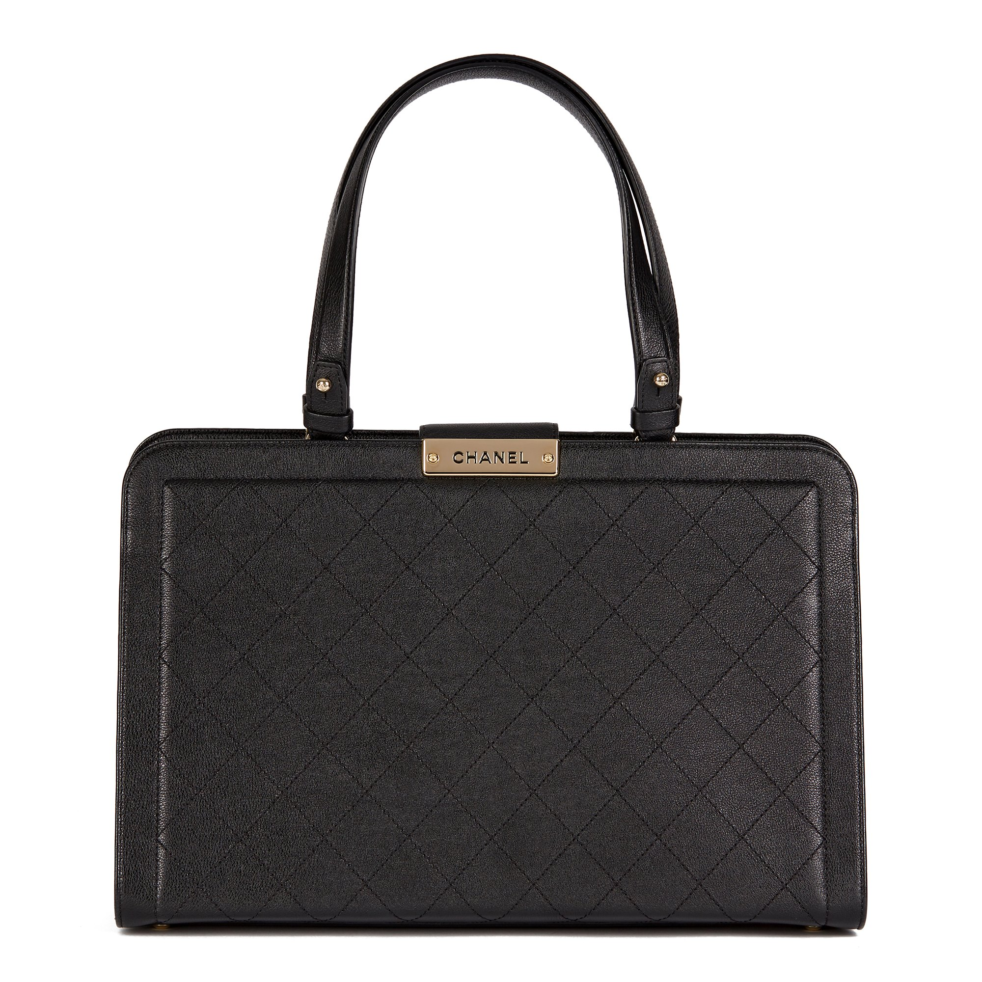 Chanel Black Quilted Calfskin Leather Large Label Click Shopping Tote
