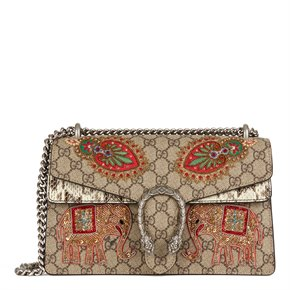 Gucci Embroidered GG Supreme Canvas & Natural Python Leather Small Dionysus