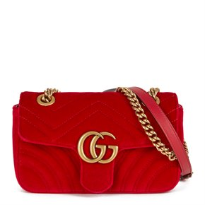 Gucci Red Quilted Velvet Mini Marmont