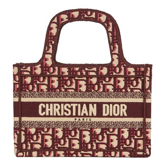 Christian Dior Burgundy Oblique Monogram Canvas Mini Book Tote