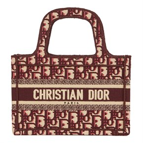 Christian Dior Burgundy Oblique Monogram Canvas Mini Book Tote