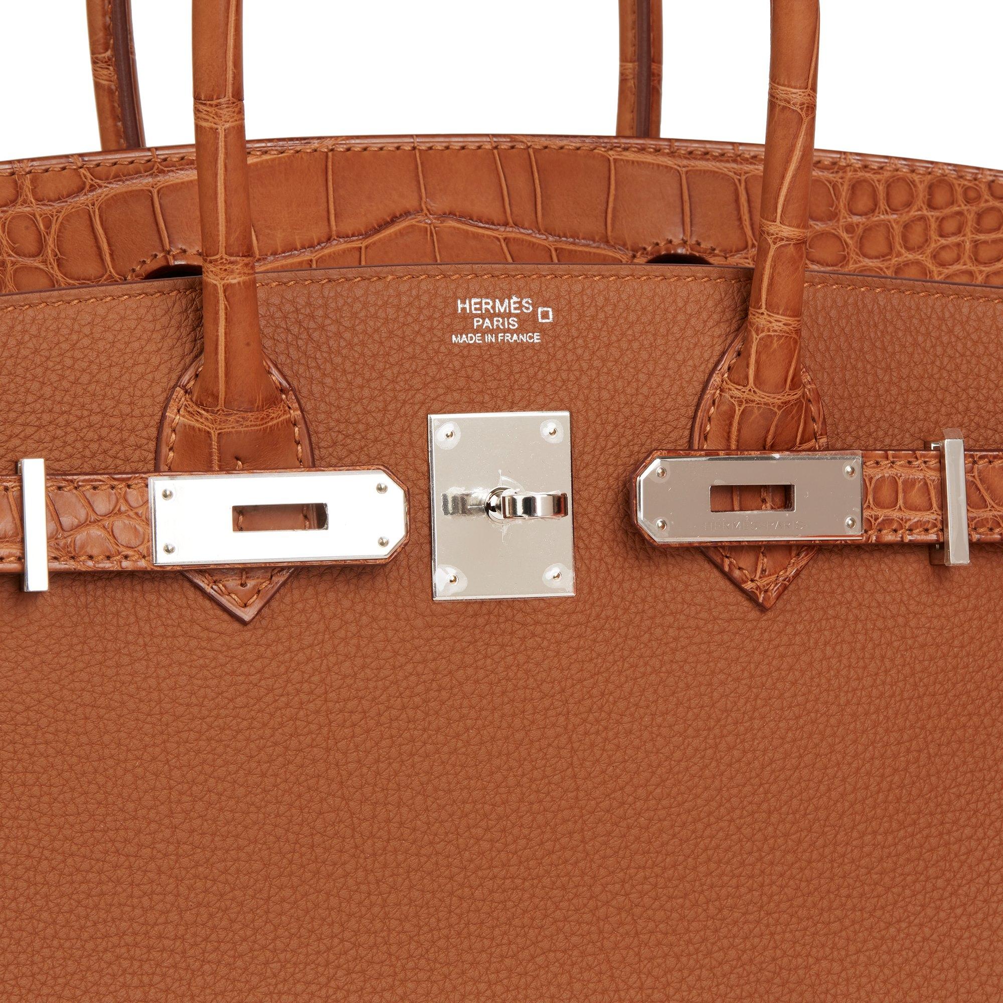 Hermès Gold Togo Leather & Matte Mississippiensis Alligator Birkin 30cm Touch