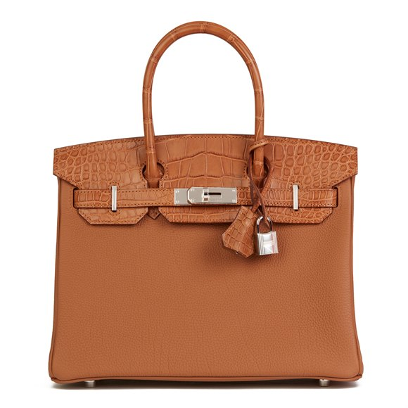 Hermès Gold Togo Leather & Matte Mississippiensis Alligator Birkin 30cm Touch