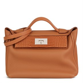 Hermès Gold Togo Leather, Swift Leather & Matte Mississippiensis Alligator 24/24 29cm
