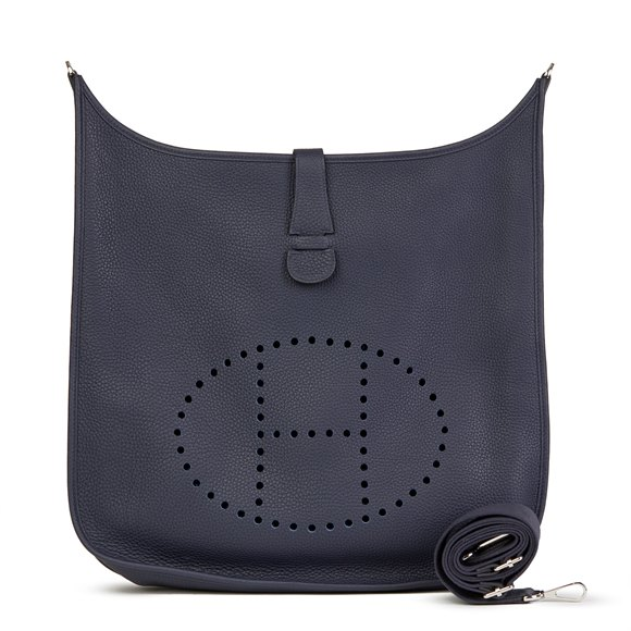 Hermès Bleu Nuit Clemence Leather Evelyne III 40
