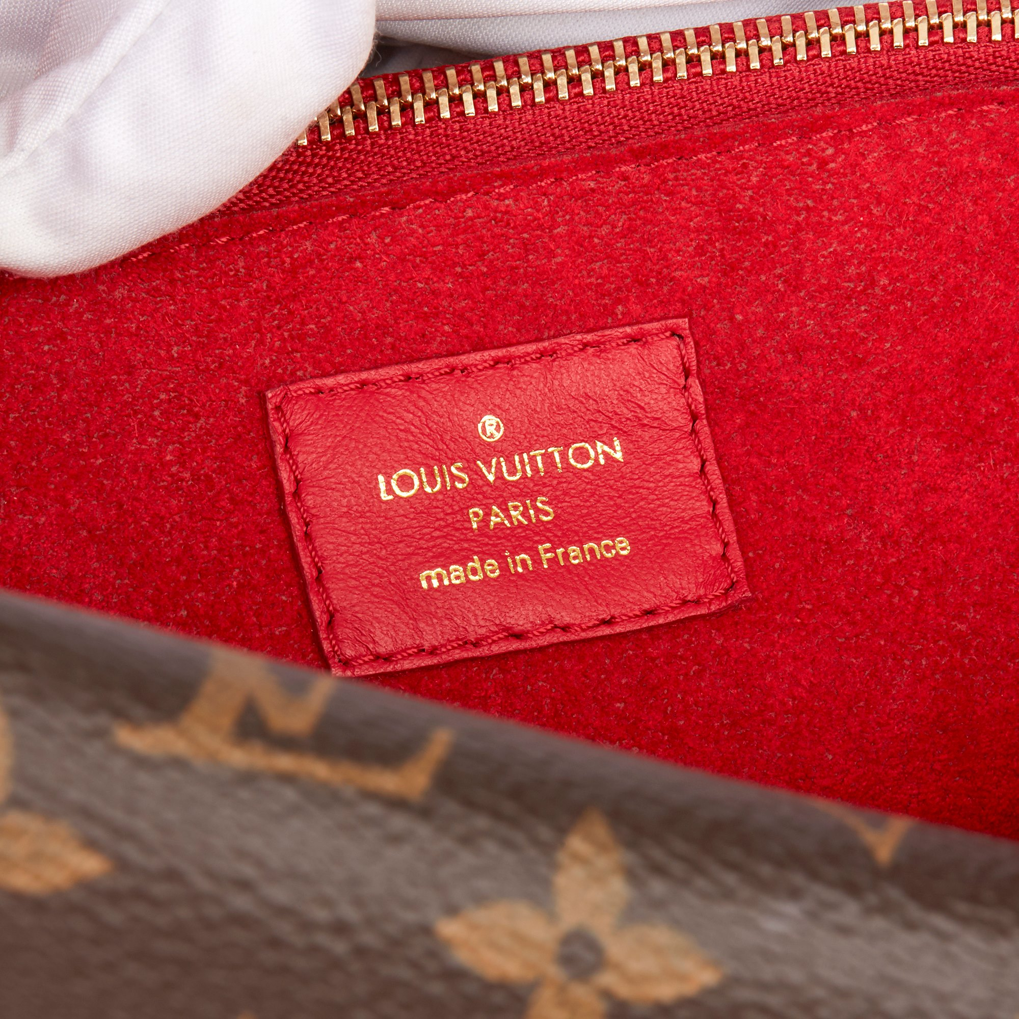 Louis Vuitton Rubis Fine Grained Calfskin Leather & Brown Monogram Coated Canvas Double V