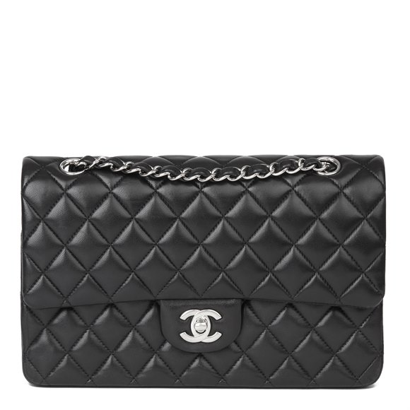 Chanel Black Quilted Lambskin Medium Classic Double Flap Bag