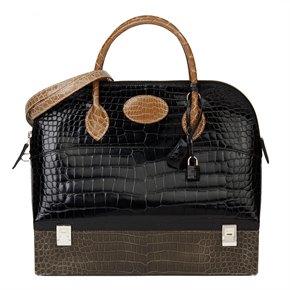 Hermès Indigo, Ficelle & Gris Tourterelle Shiny Porosus Crocodile Leather Vintage Special Order Macpherson