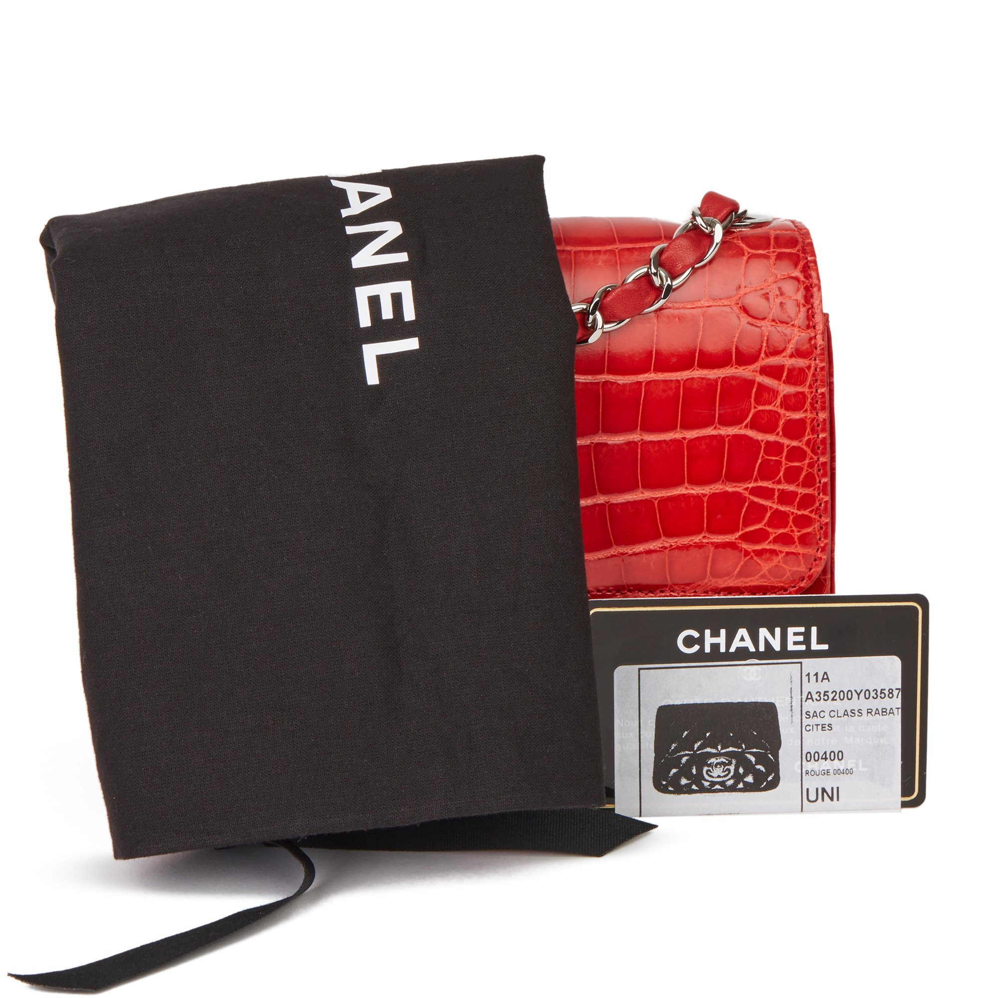 Chanel Red Shiny Mississippiensis Alligator Leather Mini Flap Bag