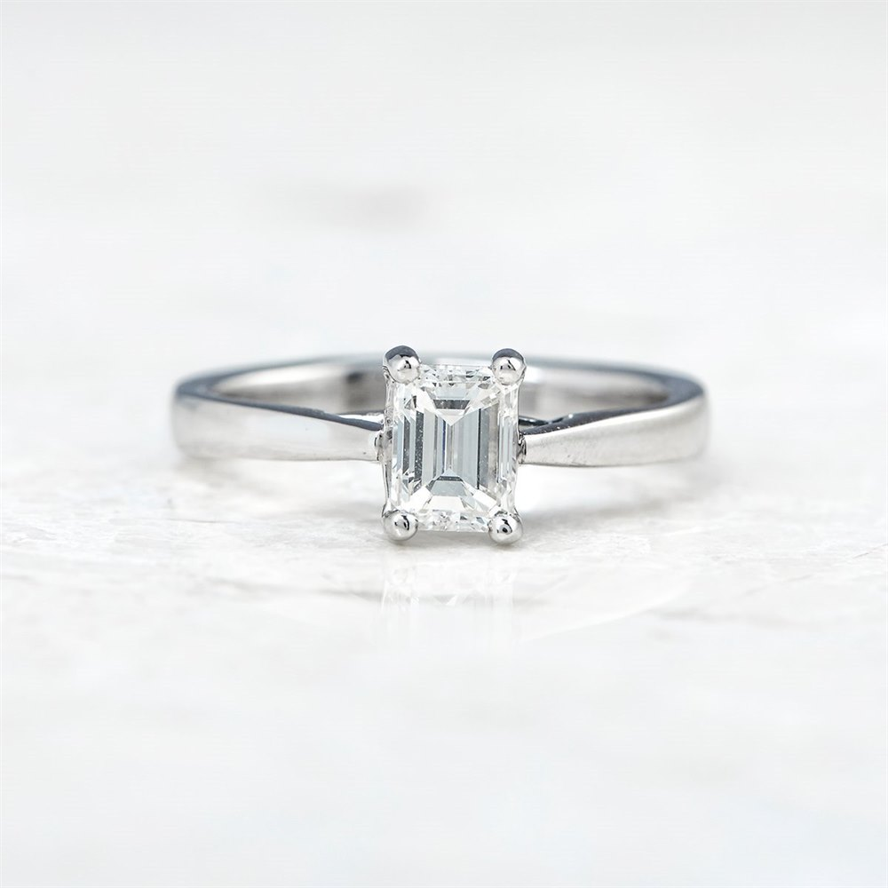 Mappin & Webb Platinum Emerald Cut 0.81ct Diamond Engagement Ring