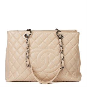Chanel Beige Quilted Caviar Leather Grand Shopping Tote GST