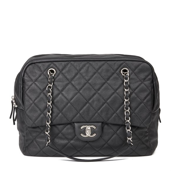 Chanel Black Quilted Caviar Leather Jumbo Classic Camera Bag