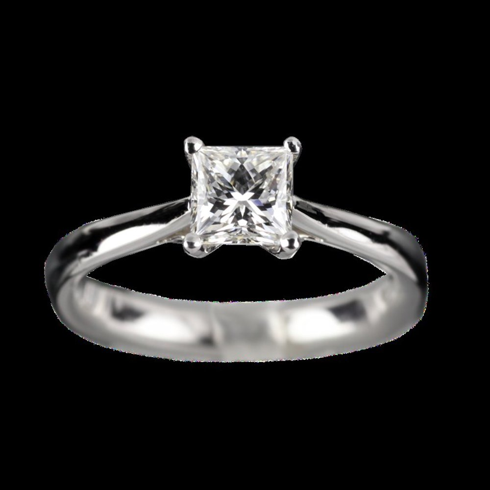 Mappin & Webb Platinum Princess Cut 1.00cts 4 Claw G VS1 Diamond Ring Size P.5