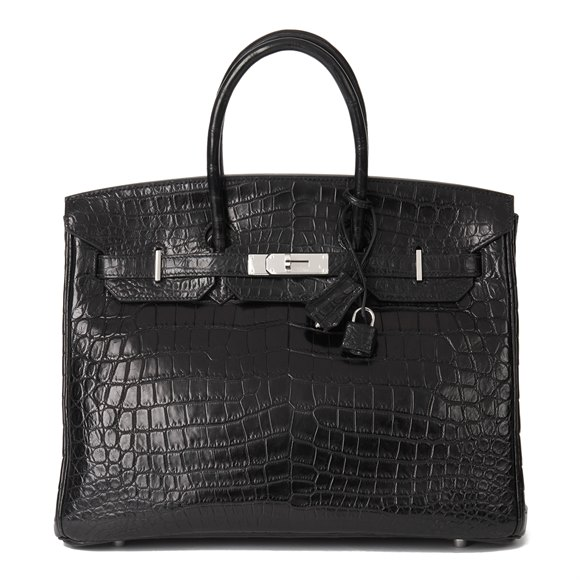 Hermès Black Matte Niloticus Crocodile Leather Birkin 35cm