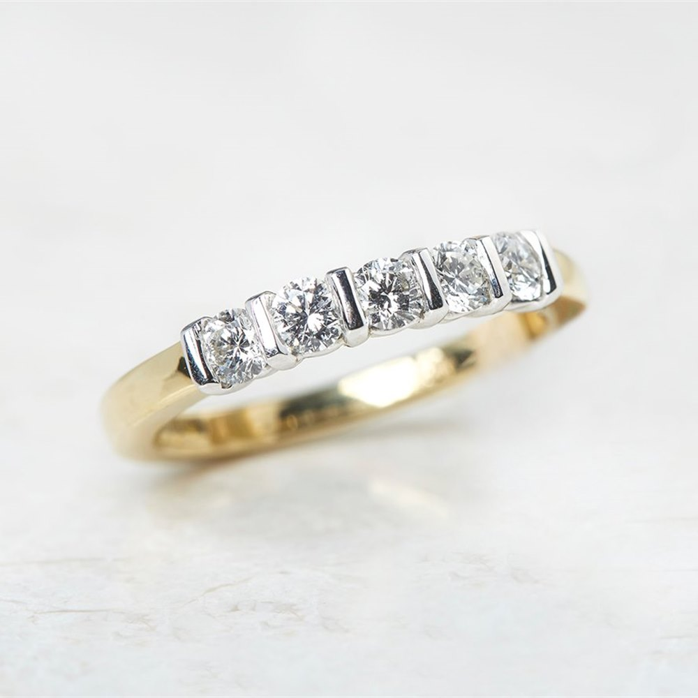 Mappin & Webb 18k Yellow Gold & Platinum 0.50ct Diamond Five Stone Ring