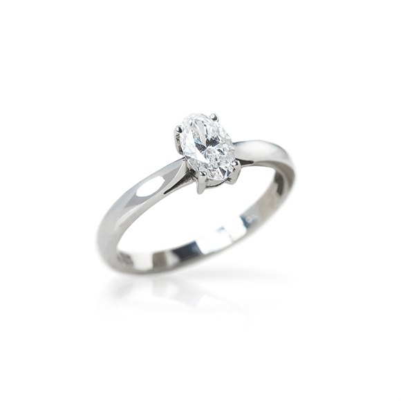 Mappin & Webb Platinum Oval Cut Solitaire Diamond Engagement Ring