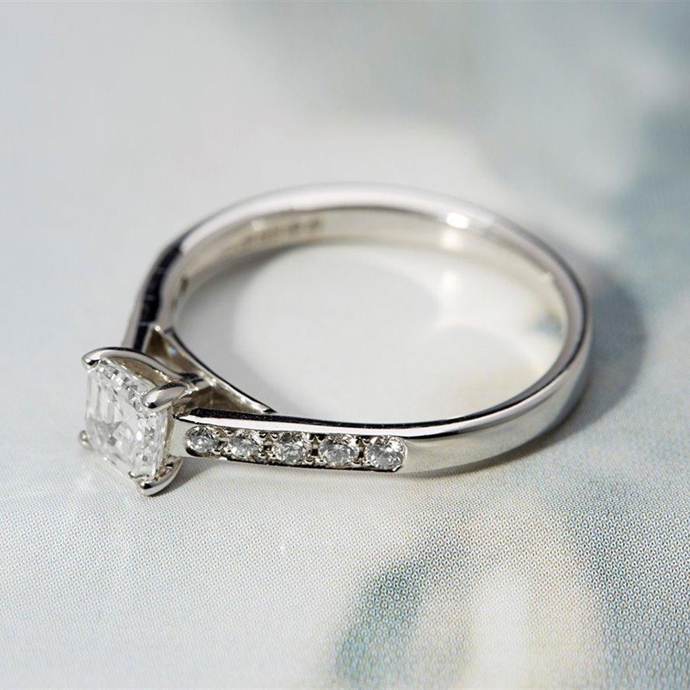 Mappin & Webb 18K White Gold Asscher Cut Pave 0.60 cts G VS1 Diamond Ring Size N