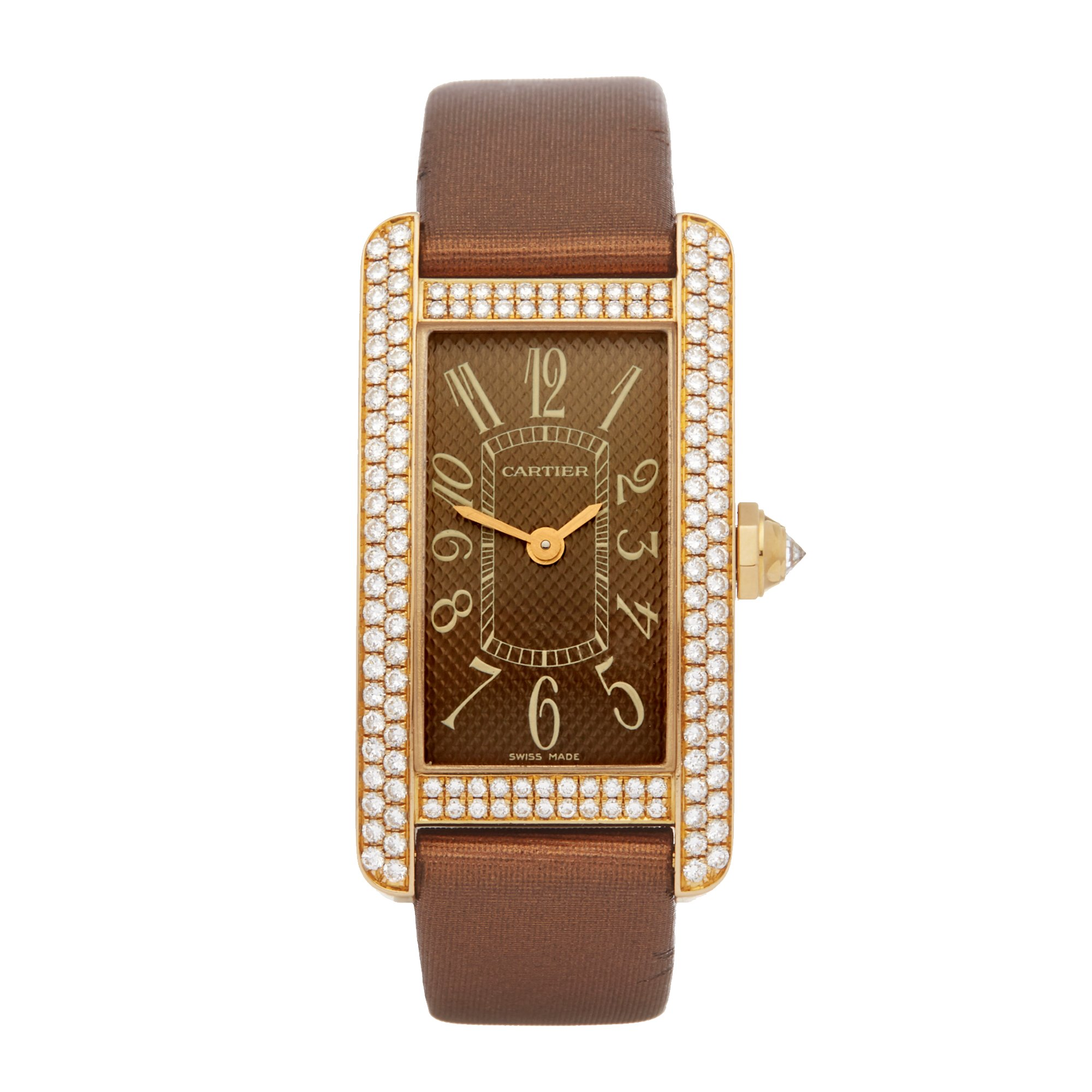 Cartier Tank Americaine Diamond 18K Yellow Gold 2482 or WB705631