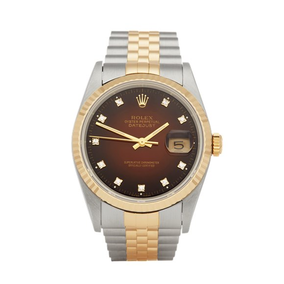 Rolex Datejust 36 Graduated Diamond Dial Stainless Steel & Yellow Gold - 16233