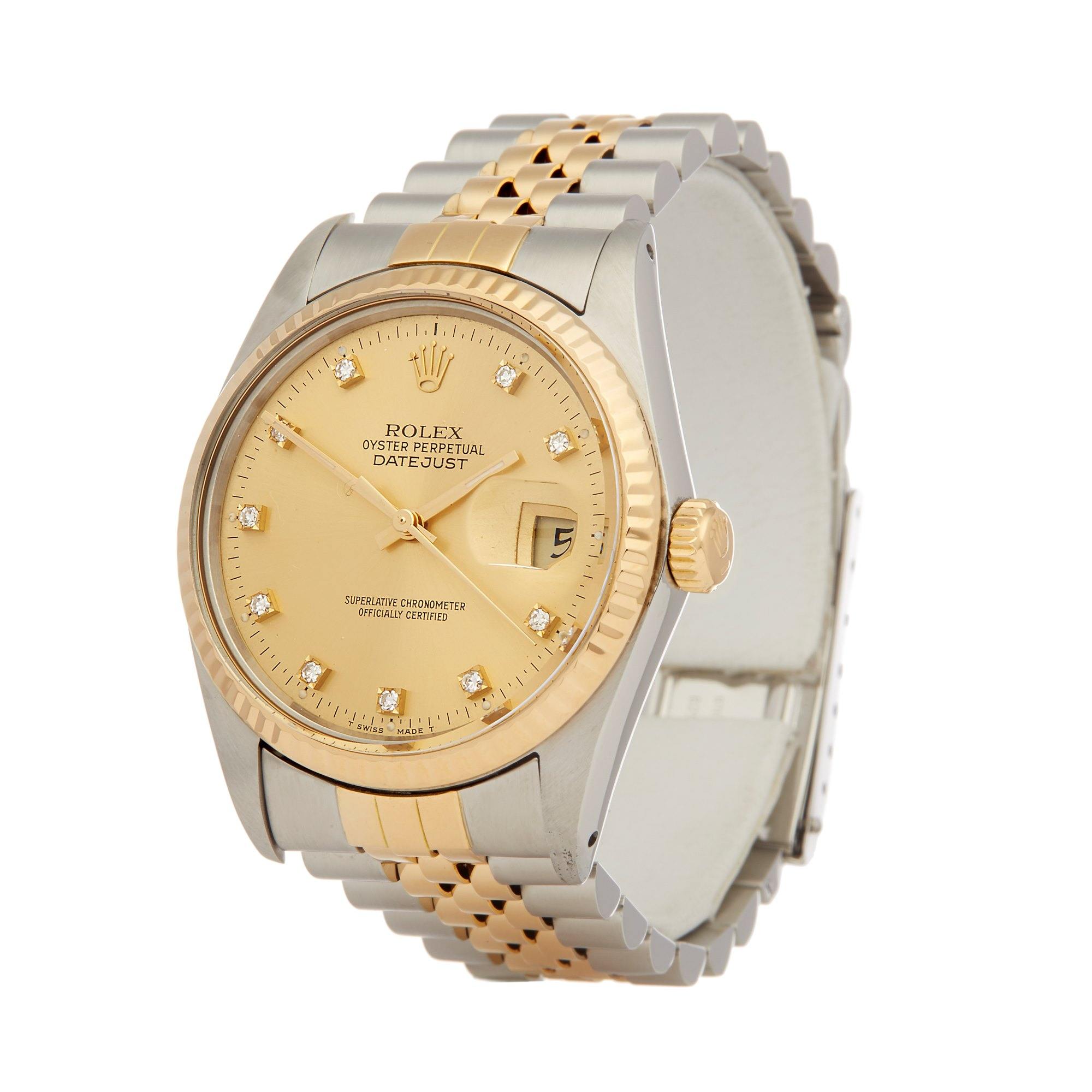Rolex Datejust 36 Diamond Stainless Steel & Yellow Gold 16013G