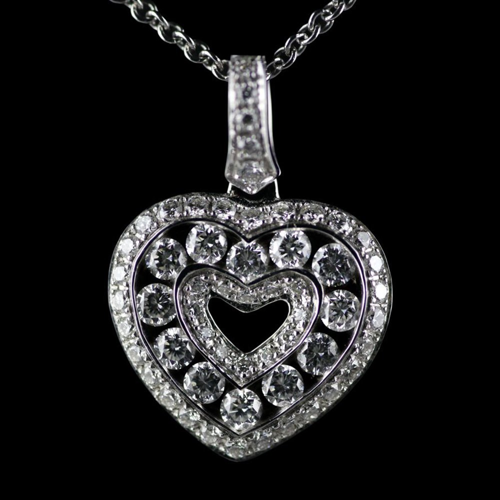 Mappin & Webb 18K White Gold Brilliant Cut 0.59cts Diamond Heart G VS1 Pendant Necklace