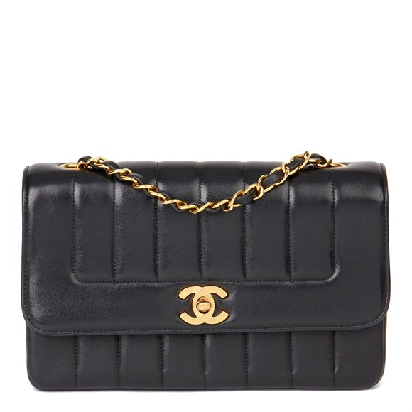 Chanel Black Vertical Quilted Lambskin Vintage Classic Single Flap Bag