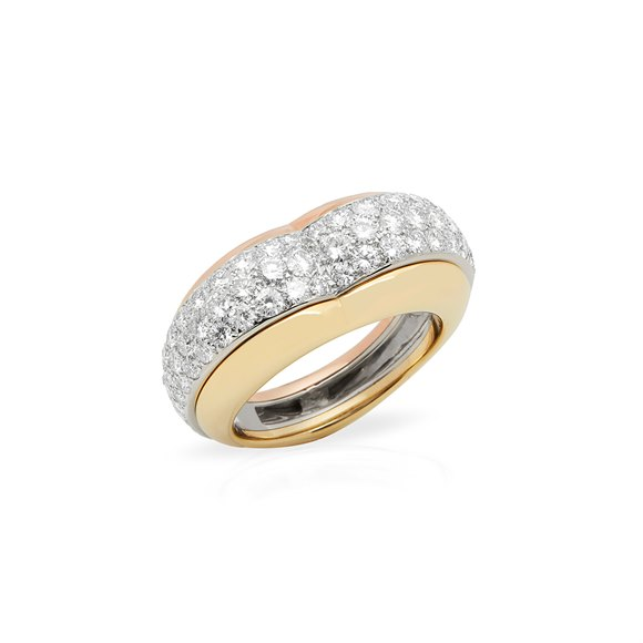 Cartier 18k Yellow, White and Rose Gold Diamond Heart Shaped Ring