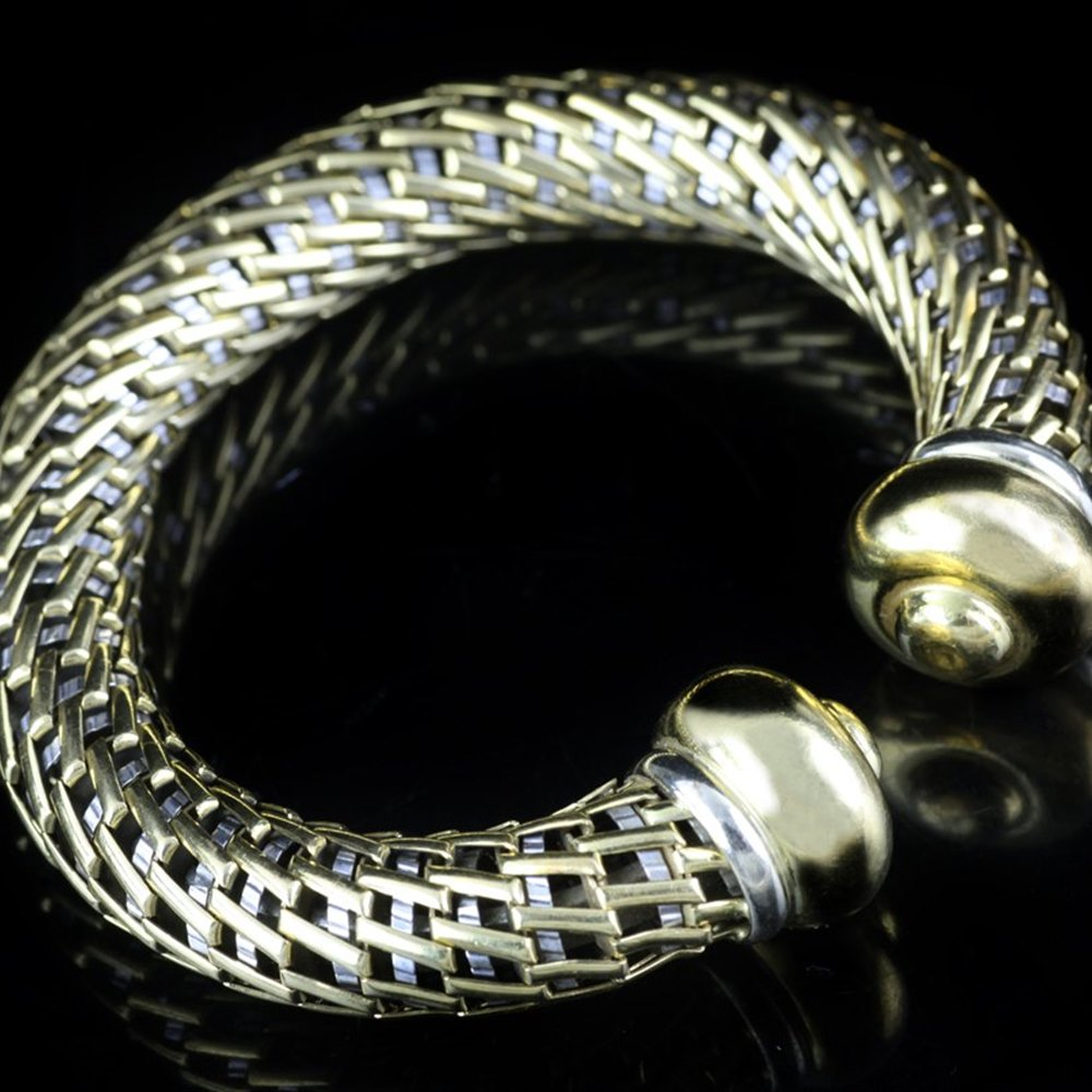 David Morris Vintage 18k White & Yellow Gold Bangle