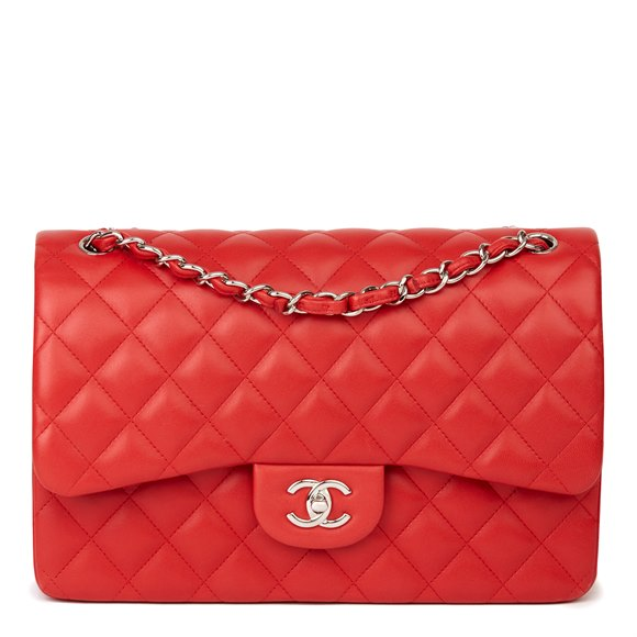 Chanel Red Quilted Lambskin Jumbo Classic Double Flap Bag