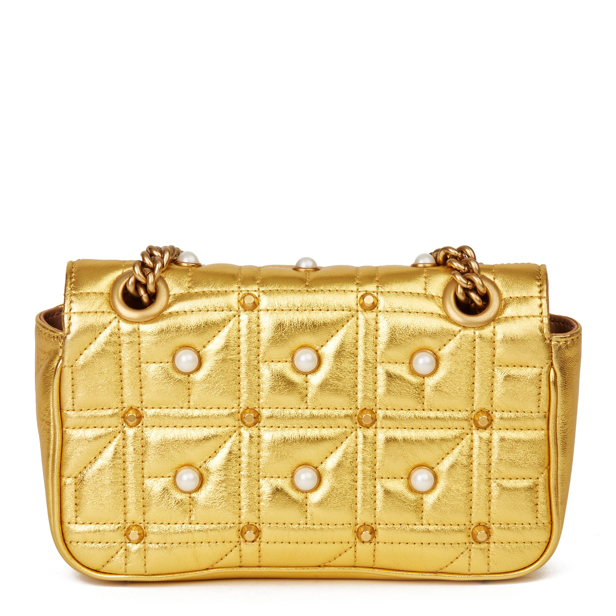 Gucci Gold Quilted Metallic Lambskin Studded Pearl Mini Marmont