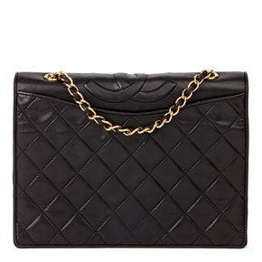 Chanel Black Quilted Lambskin Vintage Timeless Single Flap Bag