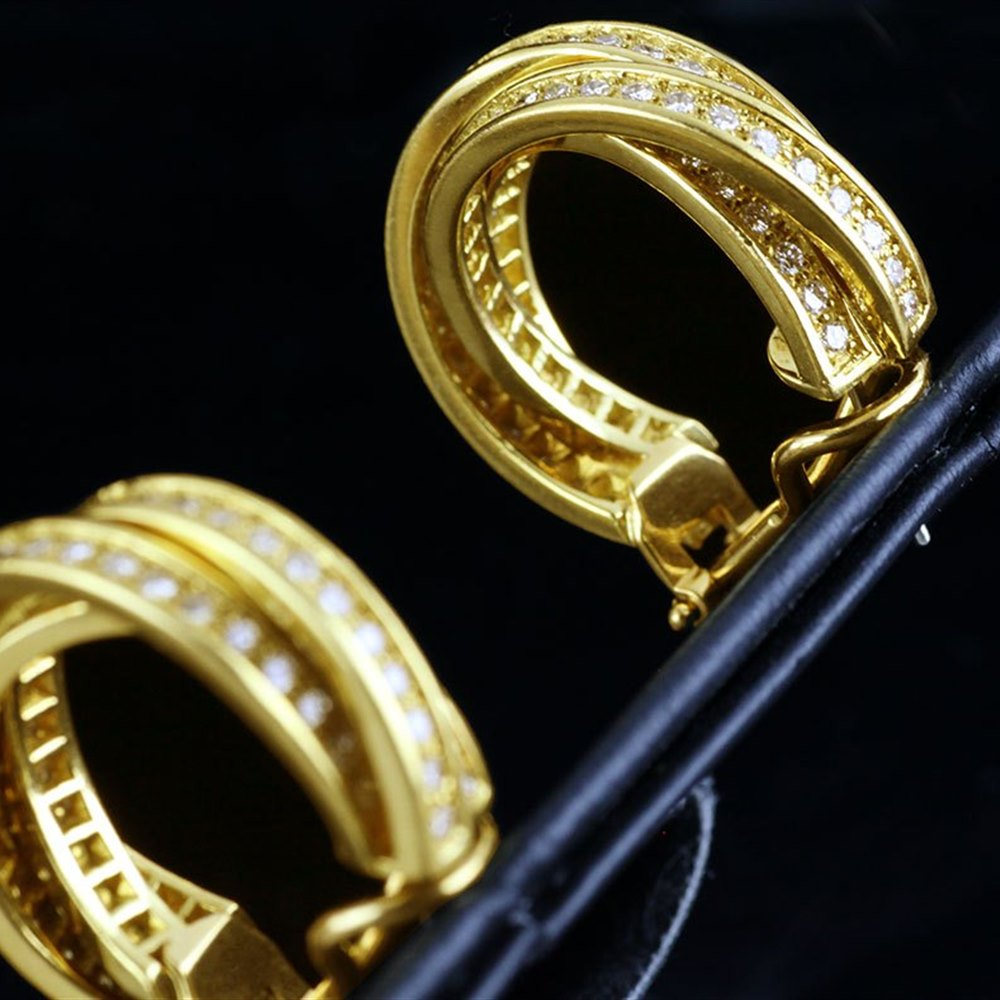 Cartier Trinity 18k Yellow Gold Diamond Earrings
