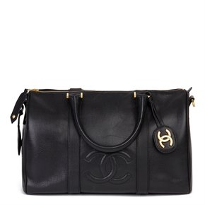 Chanel Black Caviar Leather Vintage Boston 35