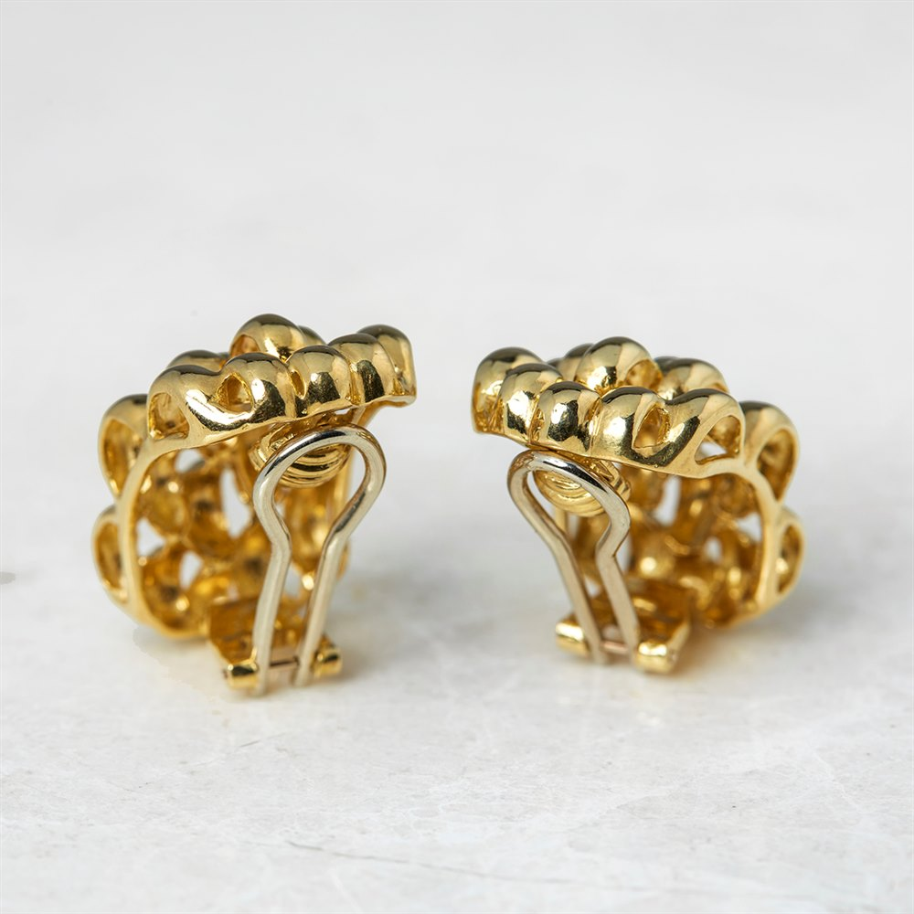 David Morris 18k Yellow Gold Honeycomb Clip-On Earrings
