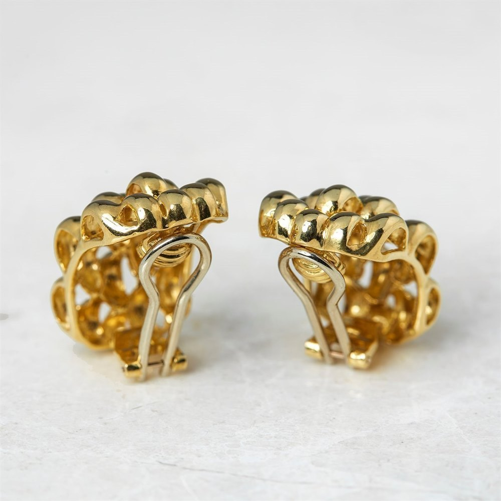 David Morris 18k Yellow Gold Honeycomb Clip Earrings