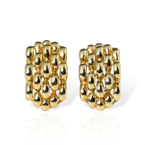 David Morris 18k Yellow Gold Honeycomb Clip Earrings