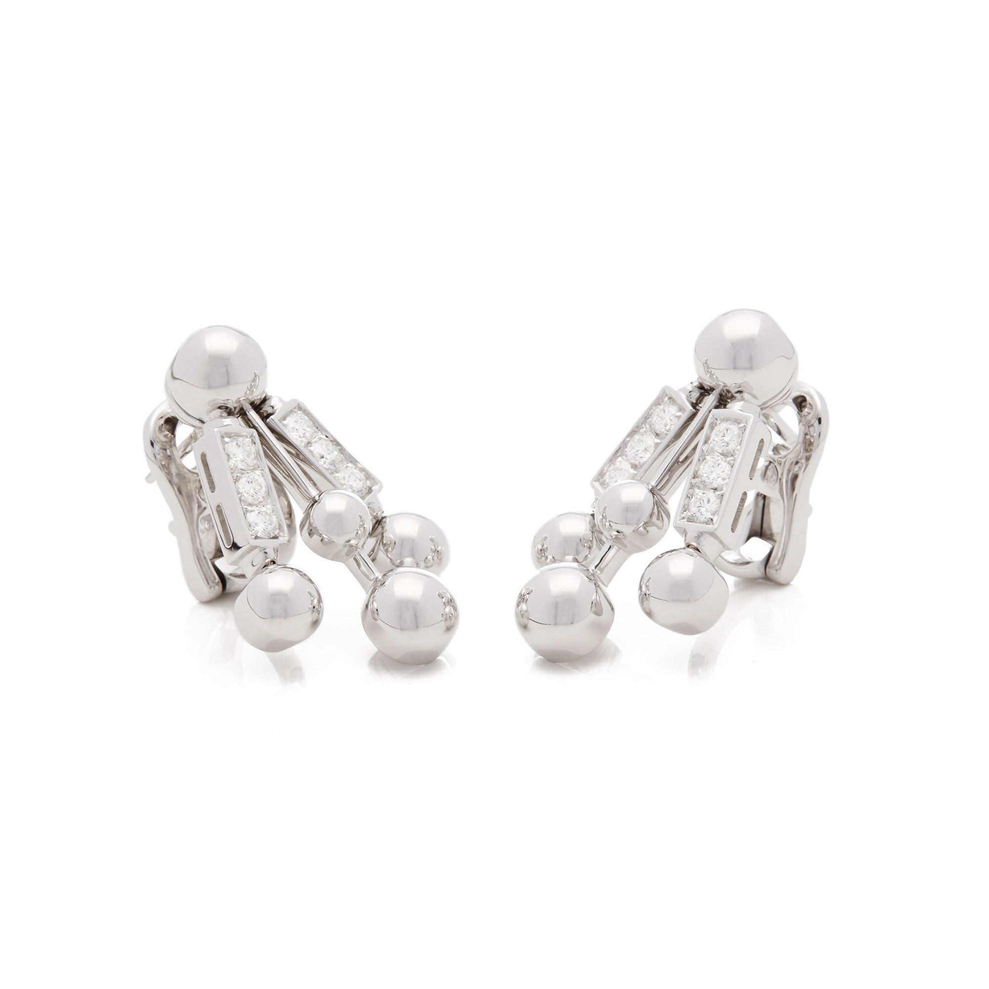 Bulgari 18k White Gold Diamond Drop Earrings